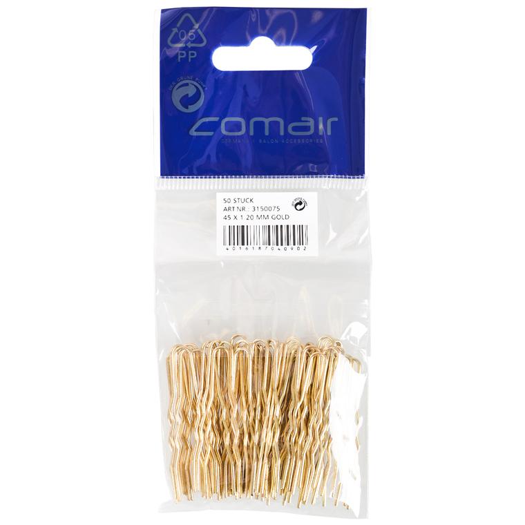 Harnadle za kosu metalne COMAIR Zlatne 45x1.2mm 50/1