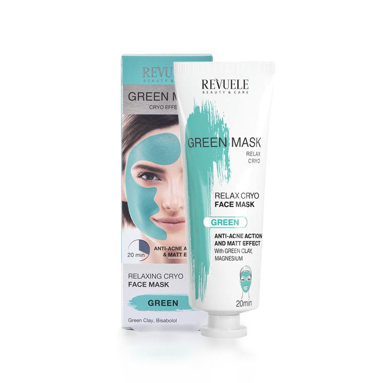 Zelena maska za čišćenje lica sa efektom hlađenja REVUELE Anti-Acne Cryo Effect 80ml
