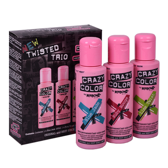 Set polutrajnih farbi za kosu CRAZY COLOR Twisted Trio 3x100ml