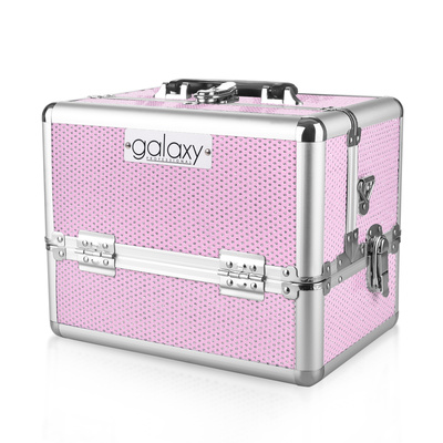 Makeup, Cosmetics and Tool Case GALAXY TC-1432PG Pink Glitter Design