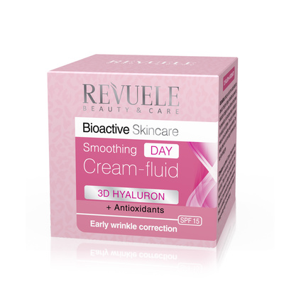Smoothing Day Cream Fluid Wrinkle Correction REVUELE Bioactive 3D Hyaluron&Antioxidants 50ml