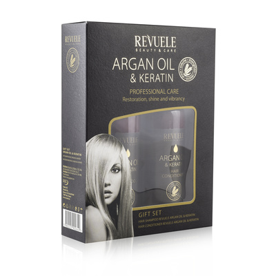 Poklon set za negu kose REVUELE Argan Oil & Keratin 2x250ml