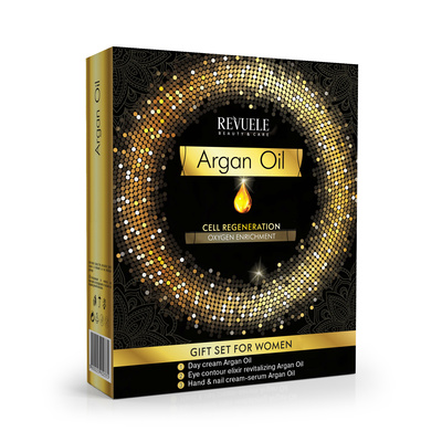 Poklon set za negu kože REVUELE Argan Oil 2x50ml + 25ml