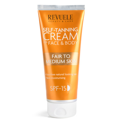 Self Tanning Cream for Face & Body REVUELE Fair to Medium Skin 200ml
