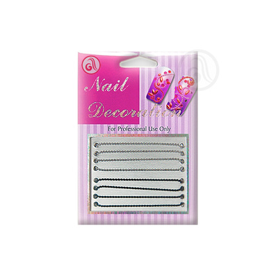 Decorative Chain For Nail Art NADE01 Silver/Black 8pcs