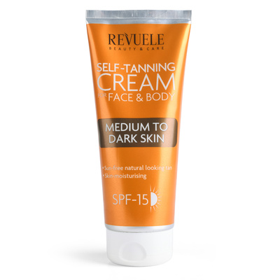 Self Tanning Cream for Face & Body REVUELE Medium to Dark Skin 200ml