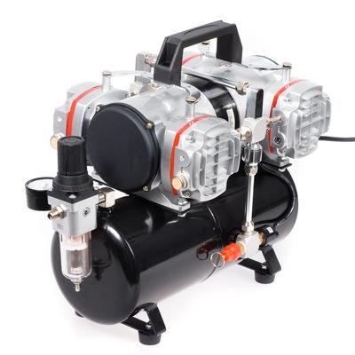 Klipni bezuljni kompresor za airbrush AS48A sa 4 cilindra i rezervoarom od 4l