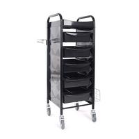Frizerska pomoćna radna kolica za viklere i frizerski pribor M-3017B sa 5 fioka i metalnim držačem za fen