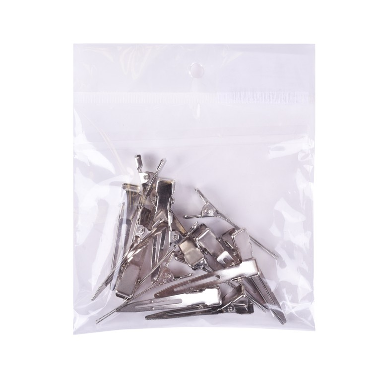 Štipaljke za kosu male metalne sa jednim krakom srebrne 4.5cm 15/1