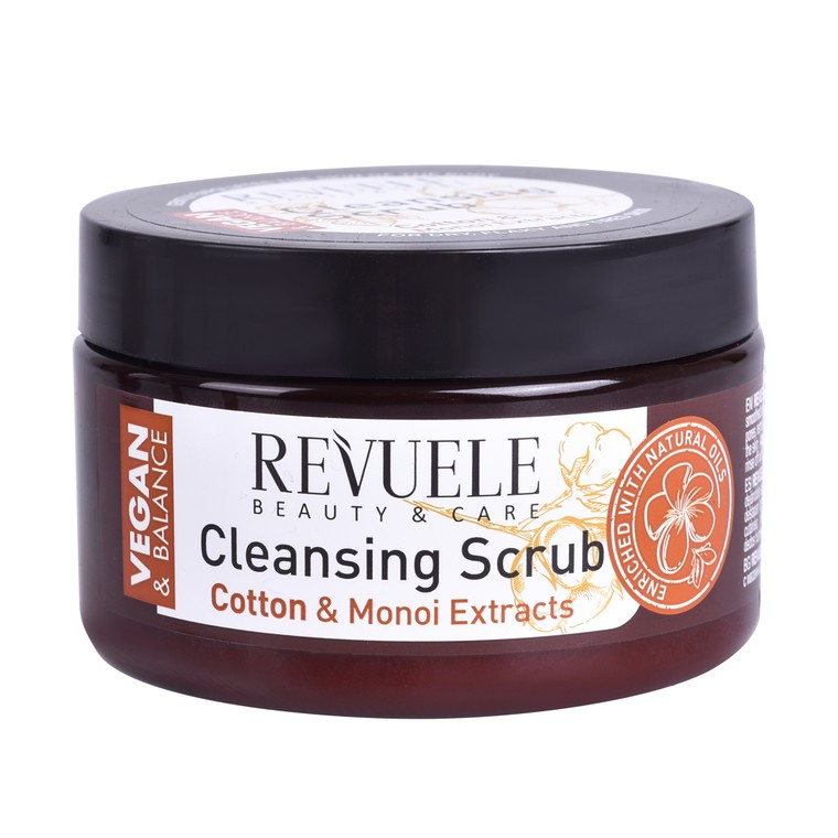 Piling za suvu kožu tela pamuk i monoi ekstrakti REVUELE Vegan & Balance 240ml