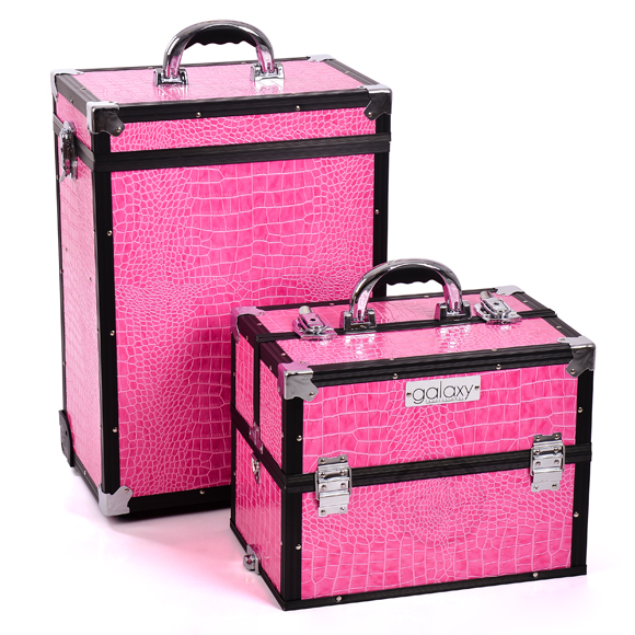 Makeup, Cosmetics and Tool Case GALAXY TC 3270 PCB Pink Twopiece with Wheels