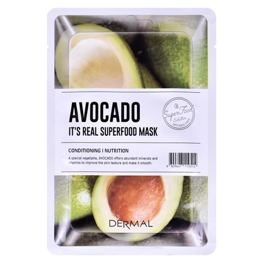 Korejska sheet maska za hidrataciju i poboljšanje teksture kože lica DERMAL SuperFood avokado 25g