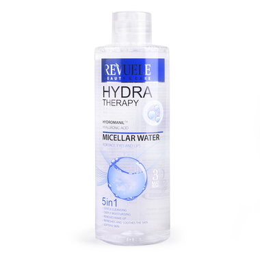 Micelarna voda 5u1 za lice, oči i usne REVUELE Hydra Therapy 400ml