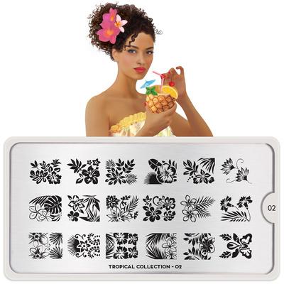 Stamping Nail Art Image Plate Tropical 02