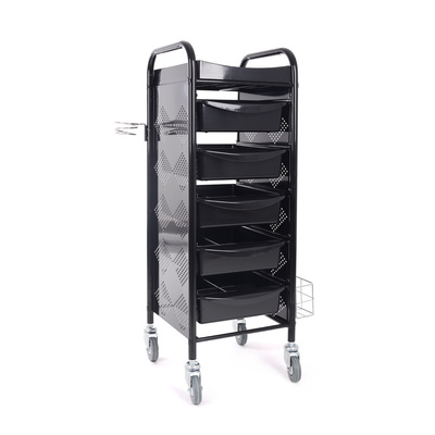 Trolley for hair salons M-3017B with 5 drawers and metal holder for hair dryer