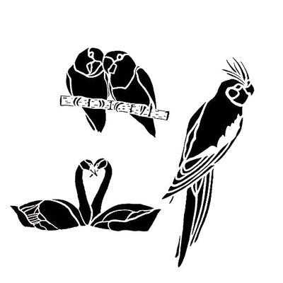 Airbrush šablon za telo BODY ART Ptice