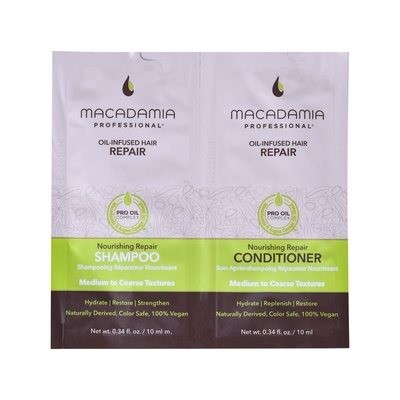 Oil-Infused Hair Shampoo & Conditioner Sulfate Free for Medium to Coarse Textures MACADAMIA Nourishing Repair 2x10ml