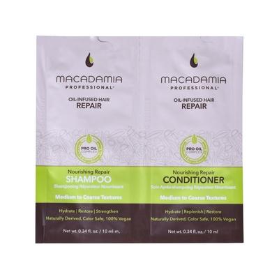 Set šampon i balzam bez sulfata za rekonstrukciju normalne i grube kose MACADAMIA Oil-Infused Nourishing Repair 2x10ml