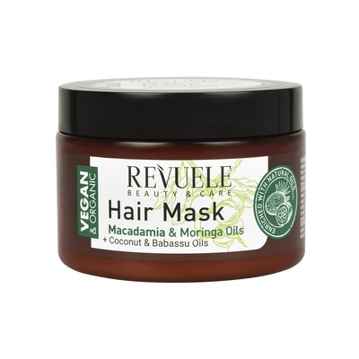 Hair Mask for Dry, Damaged & Brittle Hair with Macadamia and Moringa Oils REVUELE Vegan&Organic 360ml