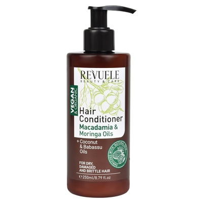 Hair Conditioner for Dry, Damaged & Brittle Hair with Macadamia and Moringa Oils REVUELE Vegan&Organic 250ml