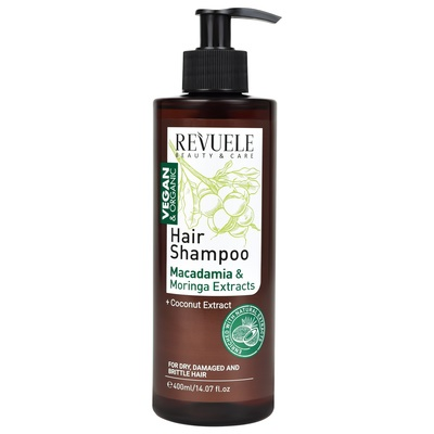 Hair Shampoo for Dry, Damaged & Brittle Hair with Macadamia and Moringa Extracts REVUELE Vegan&Organic 400ml
