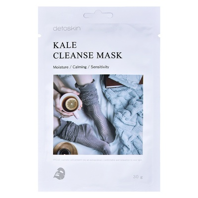 Korean Sheet Facial Cleanse Mask for Sensitive Skin DETOSKIN Kale 30g