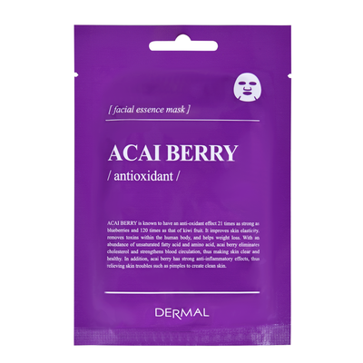 Korean Antioxidant Facial Essence Mask DERMAL Encyclopedia Acai Berry 25g