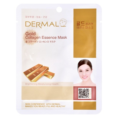 Korejska sheet maska za ujednačen ten i sjaj kože lica DERMAL Collagen Essence Gold 23g