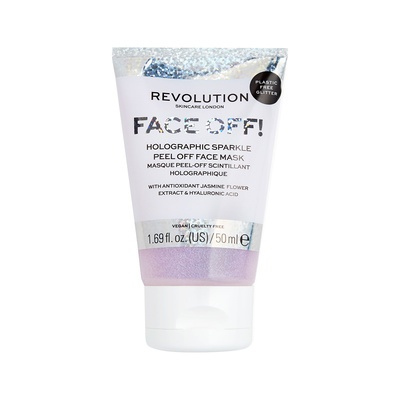 Glitter Peel-Off Face Mask with Jasmine Extract & Hyaluronic Acid REVOLUTION SKINCARE Holographic Sparkle 50ml