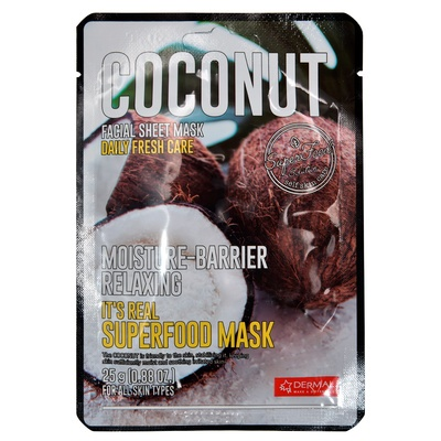 Korejska sheet maska za umirivanje kože lica DERMAL Superfood Kokos 25g