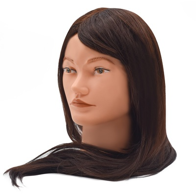 Training Head Synthetic Hair Brown 50cm