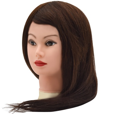 Training Head Natural Hair Brown 45cm