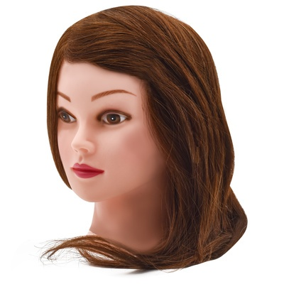 Training Head Natural Hair Brown 40cm
