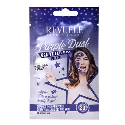 Peel-off gliter maska za hidrataciju kože lica REVUELE Sachets Purple Dust 15ml