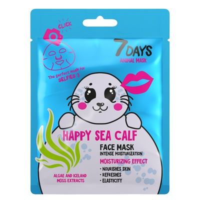 Sheet maska za dubinsku hidrataciju lica 7DAYS Animal Mask Happy Sea Calf 28g