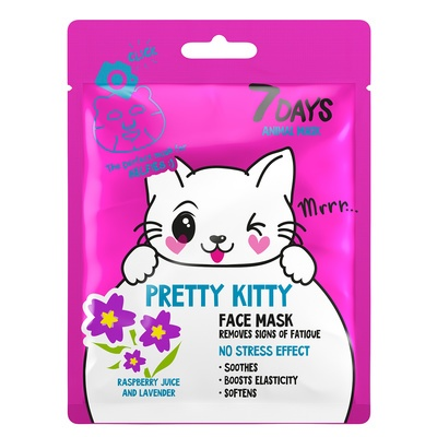 Sheet maska za otklanjanje tragova umora na licu 7DAYS Animal Mask Pretty Kitty 28g