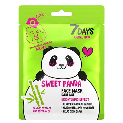 Sheet maska za blistavost kože lica 7DAYS Animal Mask Sweet Panda 28g