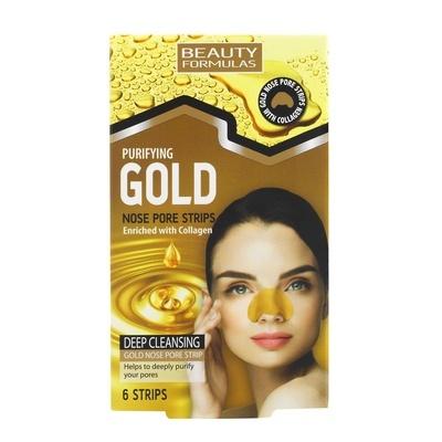 Nose Pore Strips BEAUTY FORMULAS Gold Collagen 6pcs