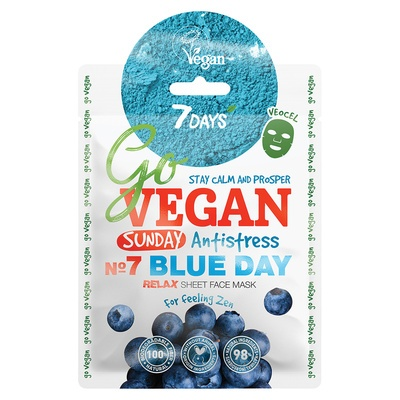 Sheet maska za relaksaciju kože lica 7DAYS Go Vegan Blue Day 25g