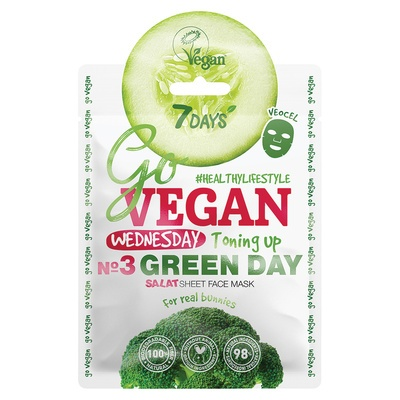 Chinese Sheet Face Mask Toning Up 7DAYS Go Vegan Green Day 25g