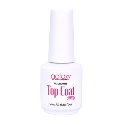 Završni ne fiksirajući sjaj za gel i trajni lak UV/LED GALAXY Pro Top Coat No Cleanse 14ml