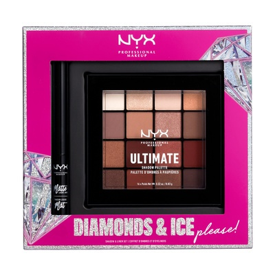 Set paleta senki i mat ajlajner NYX Professional Makeup Diamonds & Ice Please USPMLL01