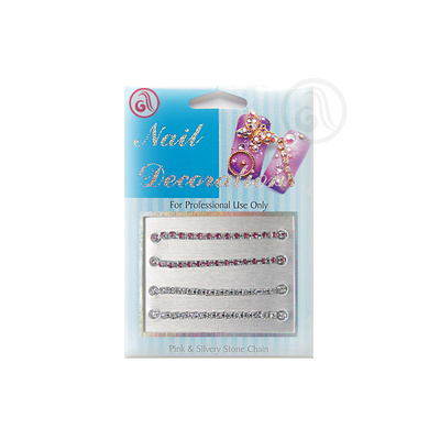 Decorative Chain For Nail Art NADE04 Silver/Pink 4pcs