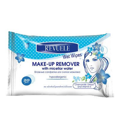 Wet Wipes Makeup Remover Hypoallergenic REVUELE Micellar Water 20pcs