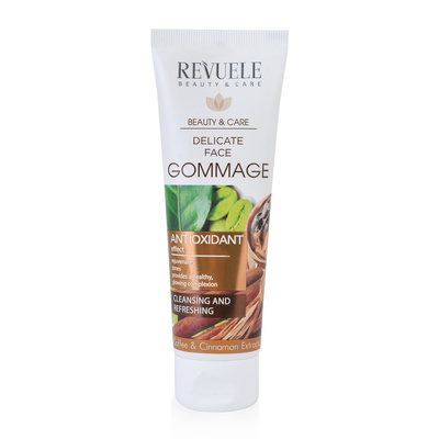 Delicate Face Gommage With Caffeine, Cosmetic Clay and Cinnamon Extract REVUELE Antioxidant 80ml