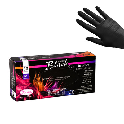 Latex Gloves Powder Free ROIAL Black L 50pcs
