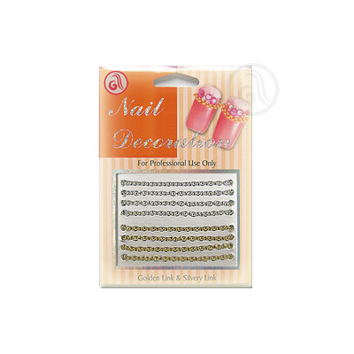 Decorative Chain For Nail Art NADE03 Gold/Silver 8pcs