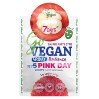 Kineska sheet maska za blistavost kože lica 7DAYS Go Vegan Pink Day 25g